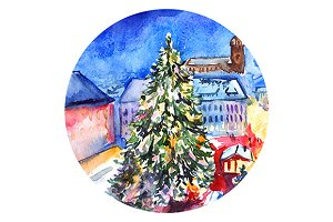Watercolor Christmas tree in square