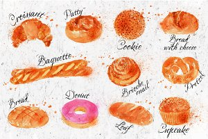 Bread products watercolor