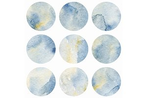 Watercolor gray marble circle vector