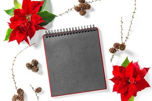Christmas flower empty book cover