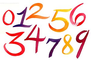 Watercolor Numbers
