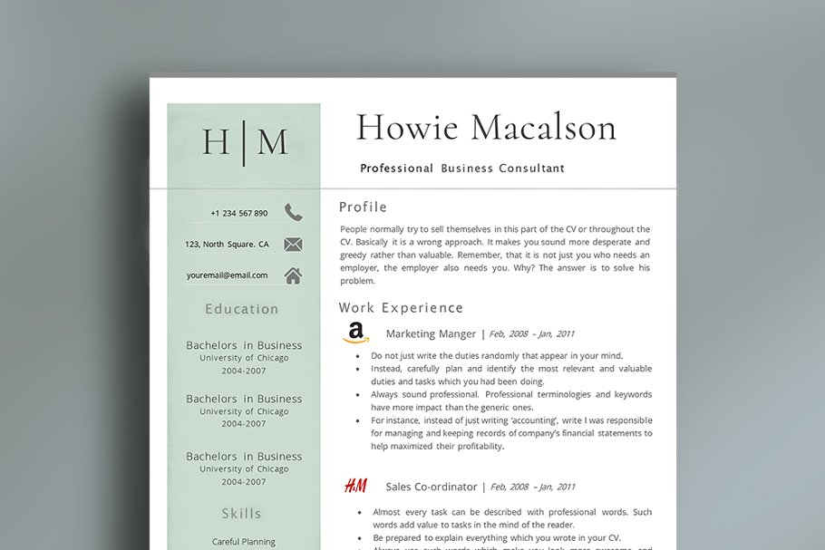 Resume Template With Logos ~ Resume Templates ~ Creative Market