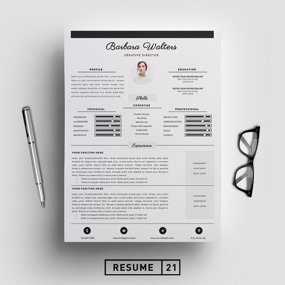 creative director resume template cv templates on creative market