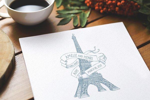 Eiffel Tower Paris Wedding Logo