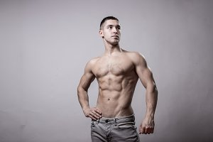 posing bodybuilder muscular studio