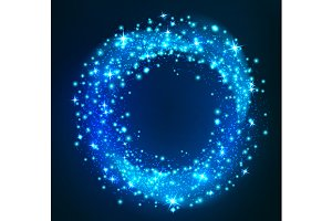 Sparkling light. Glittering circle