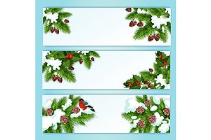 Christmas tree, holly berry banners