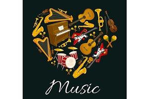 Music instruments emblem