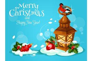 Christmas lantern festive poster