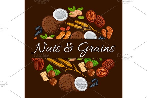 Nuts And Grains In Round Shape