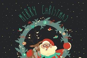 Reindeer and Santa Claus embracing
