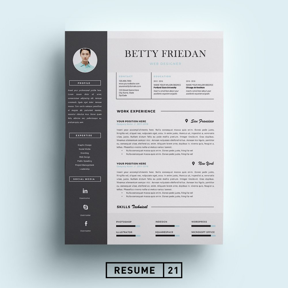 web designer resume template cv resume templates creative market - Unique Resume Templates