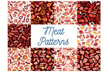 Meat and sausage patterns set