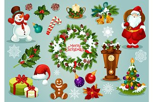 Christmas holiday symbols and icons