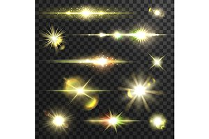 Shining gold stars and light