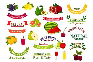 Fresh fruits and design elements