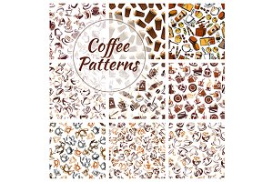 Coffee beans, cups, mills patterns