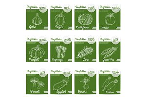 Shop label stickers with vegetables
