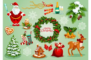 Christmas holiday symbol set