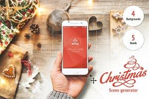 Christmas Scene Generator PSD Mockup