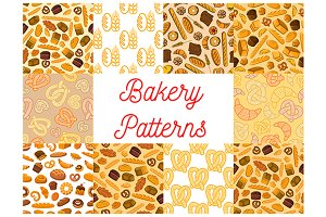 Bakery and pastry patterns set