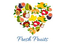 Heart emblem of fresh fruits