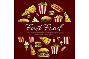 Round poster with fast food