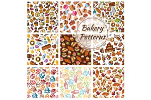 Bakery, bread, pastry patterns