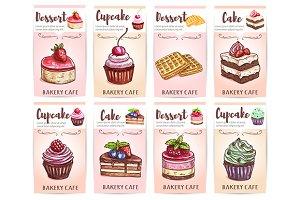 Cafeteria, patisserie desserts menu