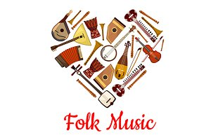 Folk music heart emblem