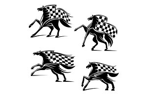 Horses with checkered flags