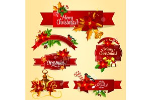 Christmas red ribbon banners