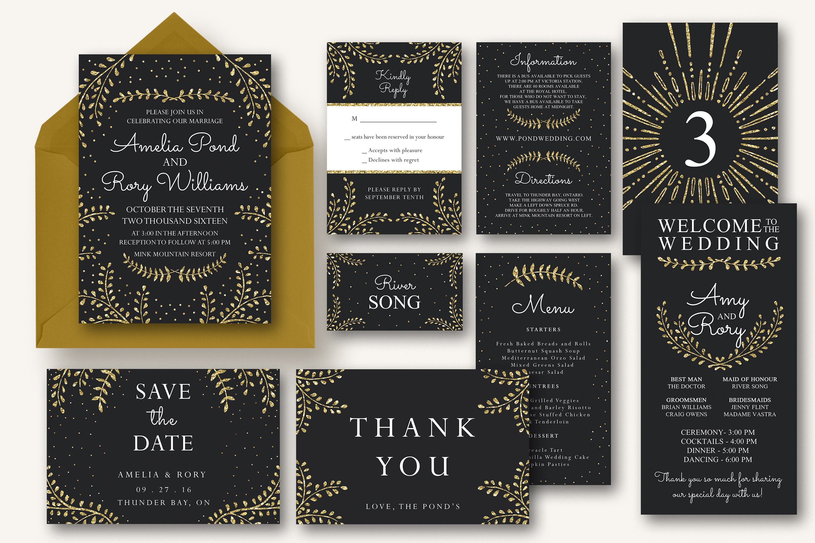 Wedding Invitation Suite Templates: New Years Wedding Invitation Suite