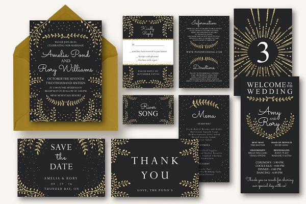 Invitation Templates: Knotted Design - New Years Wedding Invitation Suite