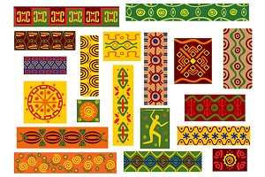 African tribal ornaments set
