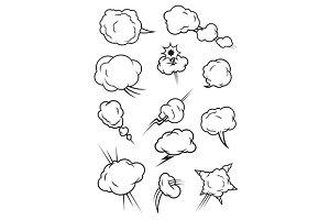 Cartoon comics cloud icons