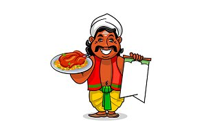 Indian chef cook with menu card