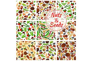 Nuts and seeds seamless patterns