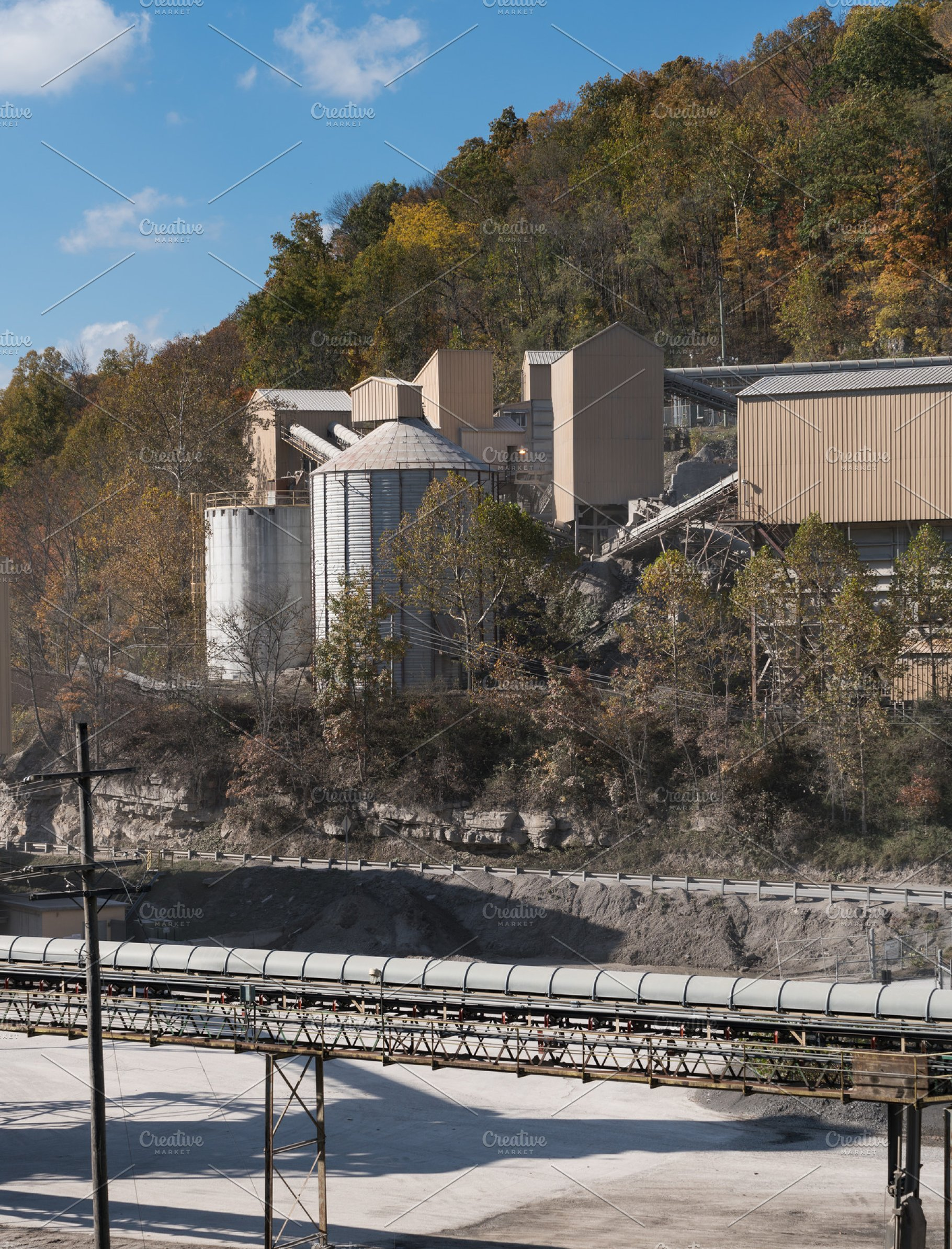 Limestone quarry in forest