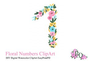 Number Watercolor Clipart number one