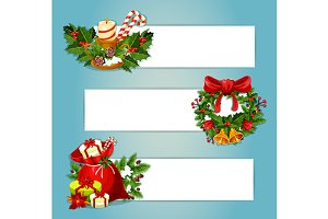 Christmas banners with copyspace