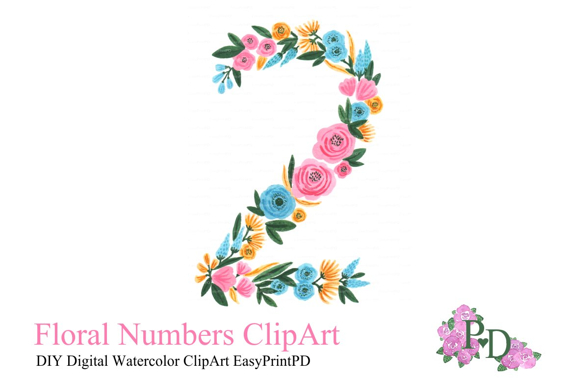 Floral Number Two Clipart Illustrations Creative Market