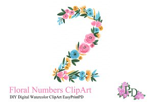 Floral Number Two Clipart