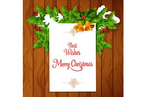 Christmas greeting card on wood