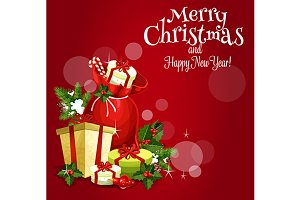Santas gift Christmas holiday card