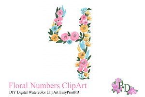 Hand painted Floral Number Four Art