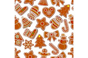 Ginger cookie seamless pattern