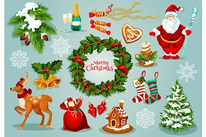 Christmas holiday objects set