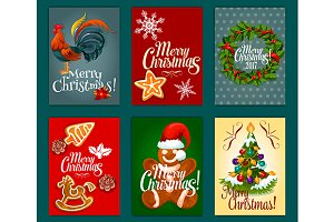 Winter holidays festive posters