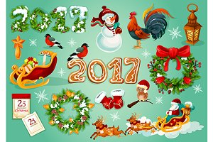 Christmas and New Year objects